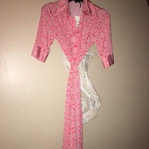 Peach /coral semi wrap dress Laundry shell Segal
